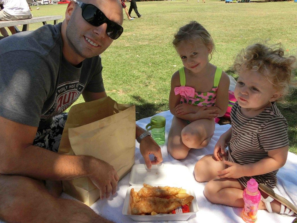 Eating fish & chips practically every day for lunch in New Zealand