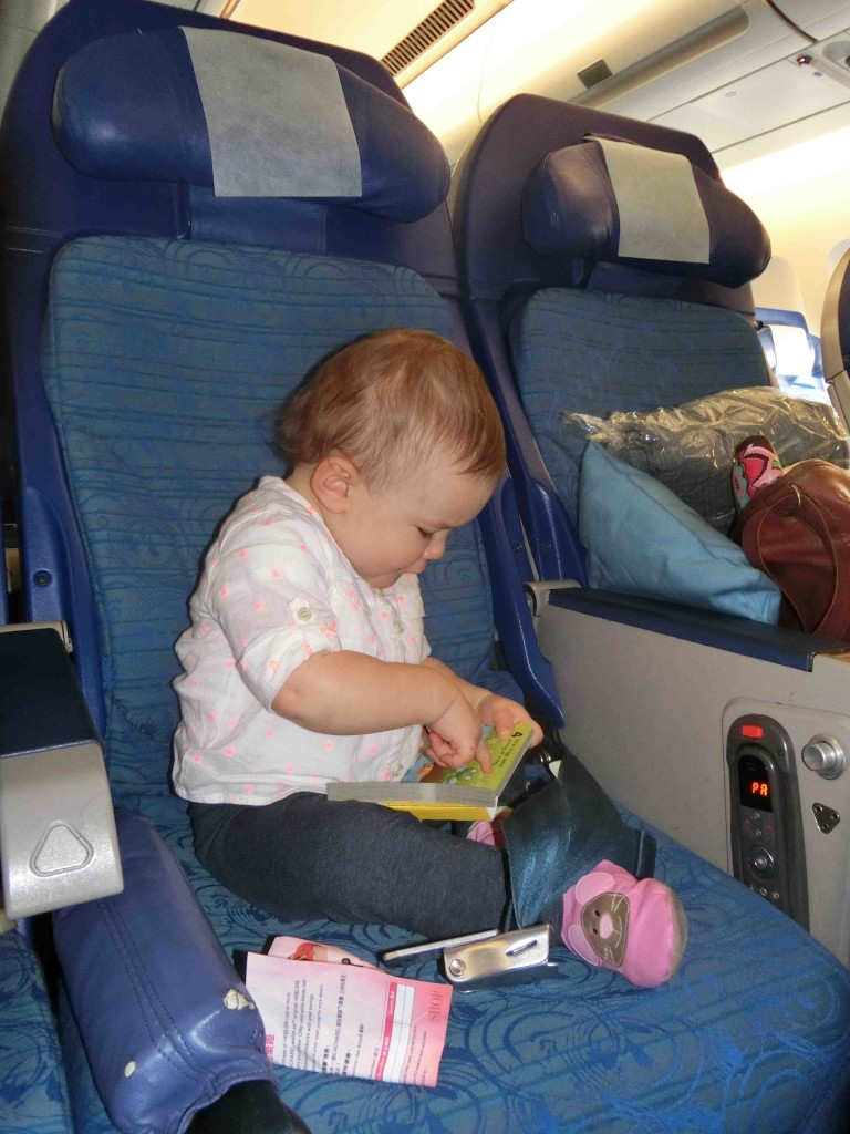 Lily on plane