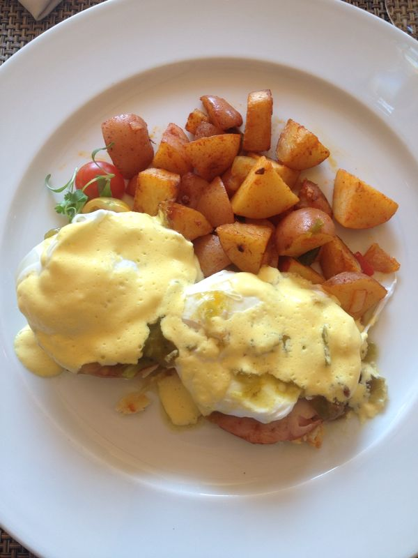 Green chile eggs benedict at the Four Seasons Santa Fe.  Simply spectacular