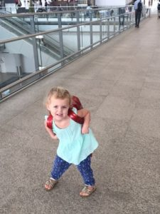 Sky with backpack at airport