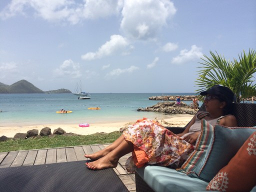 St Lucia Landings - sitting by beach