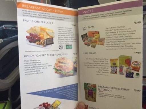 Delta - onboard snack menu