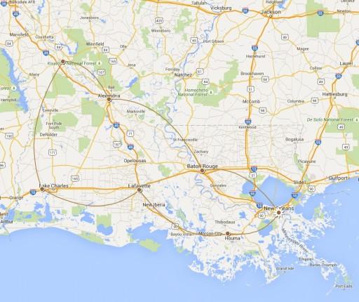 Louisiana route map